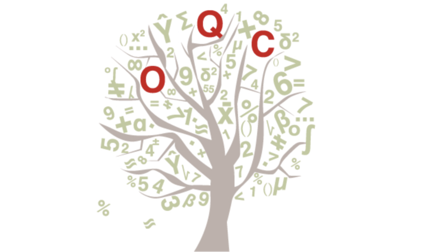 Oxford Q-Step logo tree with random letters and numbers as leaves